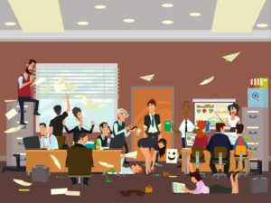 chaos in the office